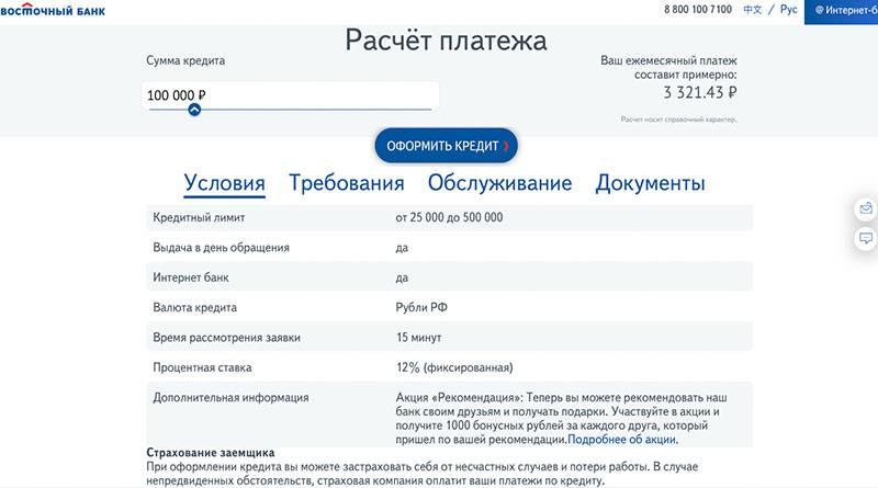 """Потребительский кредит наличными в банке """"восточный экспресс"""": процентная ставка, как подать заявку, документы"""