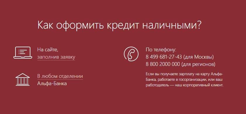 Кредит наличными в альфа-банке - онлайн-заявка, условия