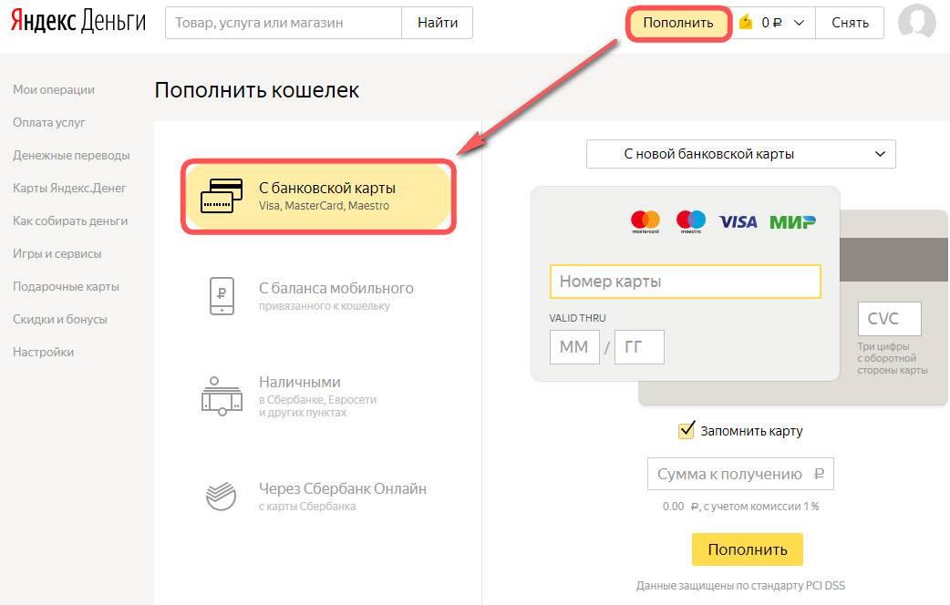 Пополнение Яндекс кошелька с кредитной карты Сбербанка