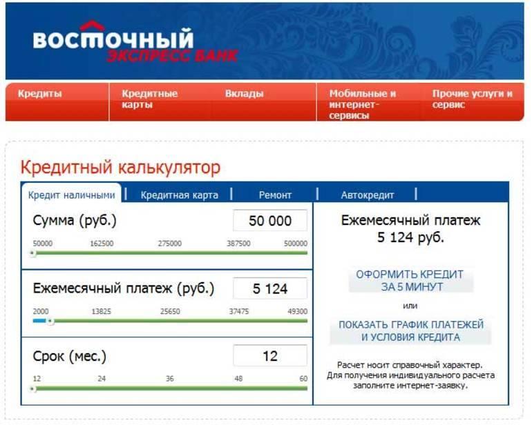 «восточный банк» - условия получения кредита, калькулятор, онлайн заявка, процентная ставка физическим лицам