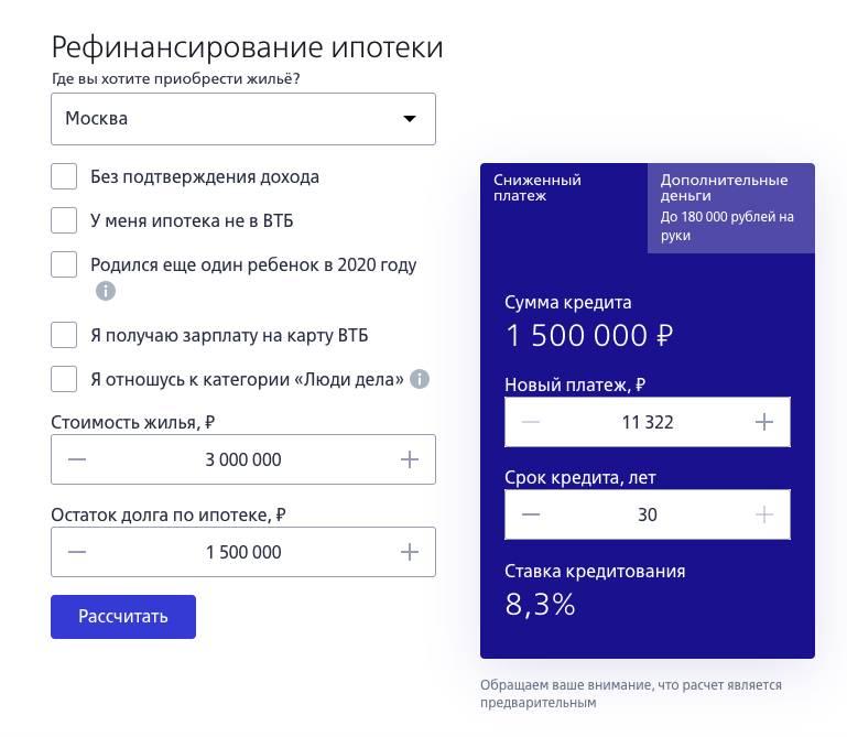 Процедура перекредитования кредитов и ипотеки в банке втб